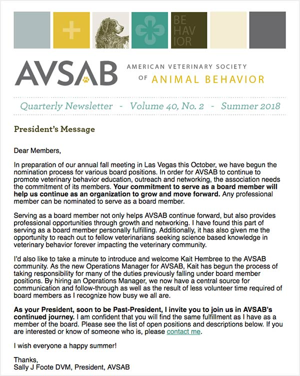 AVSAB Quarterly Newsletter Summer 2018